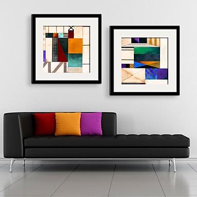 Fantasie Ingelijst canvas / Ingelijste set Wall Art,PVC Zwart Inclusief passepartout met Frame Wall Art