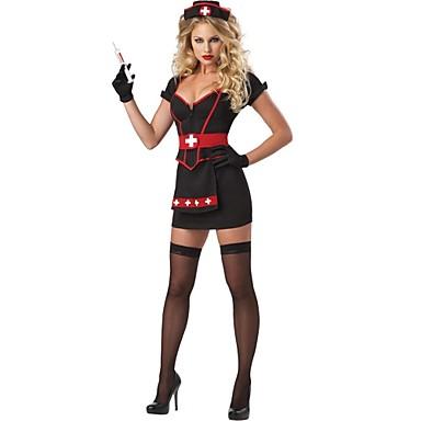 Uniformen Cosplay Kostuums Dames Halloween Festival / Feestdagen Halloweenkostuums Rood / zwart Patchwork Ziekenhuisuniformen