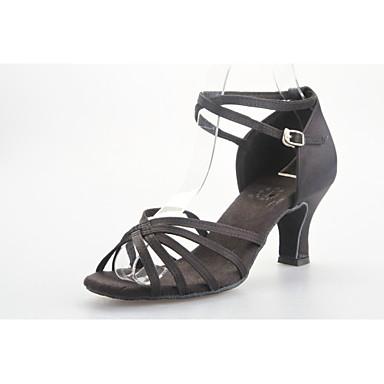 Pentru femei Pantofi Dans Latin / Sală Dans Satin Sandale Toc Flared NePersonalizabili Pantofi de dans Negru / Albastru / Fucsia / Piele