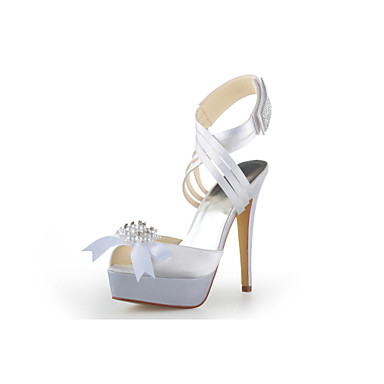 Damen Schuhe Satin Frühling Sommer Knöchelriemen Stöckelabsatz Plattform für Hochzeit Silber Blau Gold Beige Lila