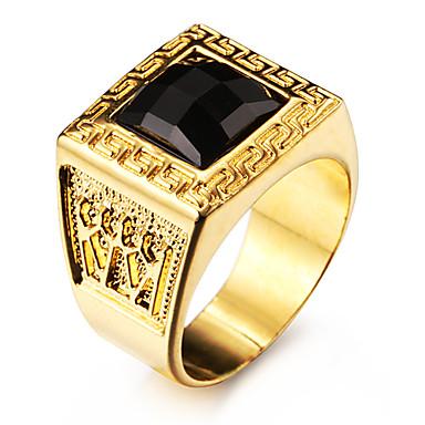 Bărbați Inele Afirmatoare Piatră Preţioasă Negru natural Personalizat Iubire Teak Teracotă Placat Auriu 18K de aur Pătrat Geometric Shape