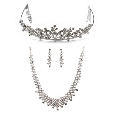 aliaj cu set de bijuterii de mireasa elegant stras inclusiv tiara, colier, cercei