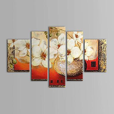 Handgeschilderde Bloemenmotief/Botanisch elke vorm Kangas Hang-geschilderd olieverfschilderij Huisdecoratie Vijf panelen