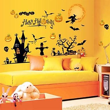 halloween zwarte heks en pompoen muurstickers
