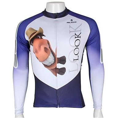 ILPALADINO Per uomo Manica lunga Maglia da ciclismo - Bianco + Sky Blue Animali Cartoni animati Asino Bicicletta Maglietta / Maglia Top, Traspirante Asciugatura rapida Resistente ai raggi UV 100