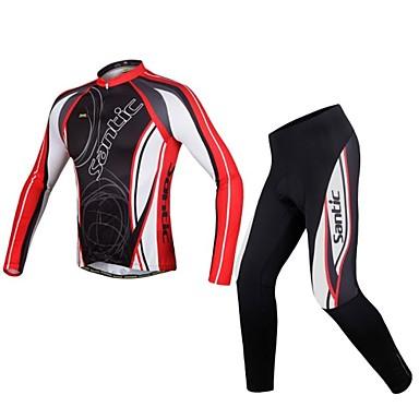 SANTIC Bărbați Manșon Lung Jerseu Cycling cu Mâneci - Roșu negru Bicicletă Jerseu Set de Îmbrăcăminte, Respirabil