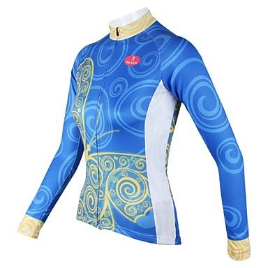 ILPALADINO Damen Langarm Fahrradtrikot - Blau Fahhrad Trikot / Radtrikot, Rasche Trocknung, Atmungsaktiv