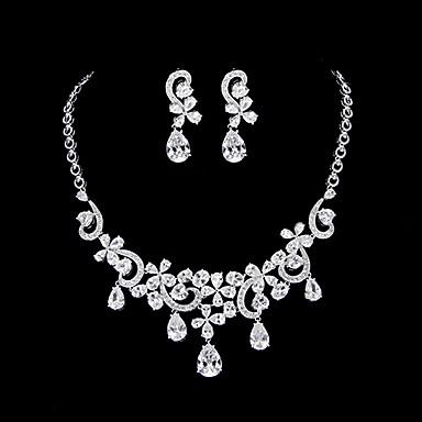 Set bijuterii Pentru femei Aniversare / Nuntă / Logodnă / Ocazie specială Set Bijuterii Platină Zirconiu Cubic Coliere / Σκουλαρίκια