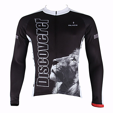 ILPALADINO Men's Long Sleeve Cycling Jersey - Black Animal Bike Jersey, Thermal / Warm, Quick Dry, Ultraviolet Resistant