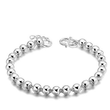 Kadın's Zincir & Halka Bileklikler Basic Tasarım minimalist tarzı kostüm takısı Gümüş Kaplama Circle Shape Mücevher Uyumluluk Düğün Parti