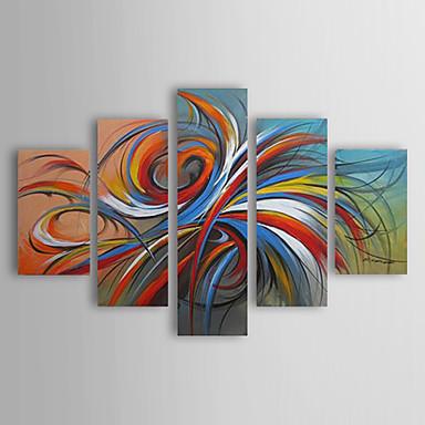 Maalattu Abstrakti Mikä tahansa muoto, Moderni Perinteinen Hang-Painted öljymaalaus Kodinsisustus 5 paneeli