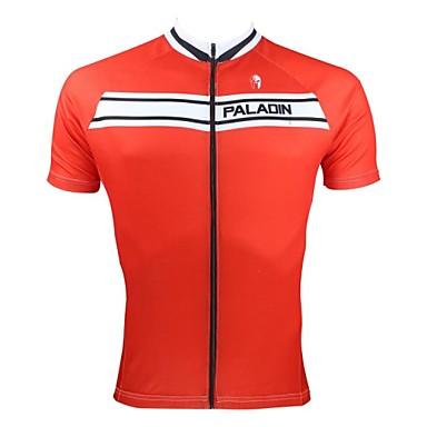 ILPALADINO Bărbați Manșon scurt Jerseu Cycling - Roșu-aprins Bicicletă Jerseu, Uscare rapidă, Rezistent la Ultraviolete, Respirabil