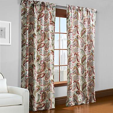 Barra no Interior Anéis Presilhas Duplo Plissado Um Painel Tratamento janela Designer , Folha Sala de Estar Poliéster Material Cortinas