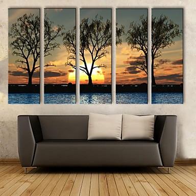 pânză întinse ești apus de soare sub umbrele set pictura decorativa de 5