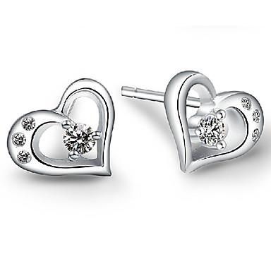 Γυναικεία Κουμπωτά Σκουλαρίκια Love κοσμήματα πολυτελείας Ασήμι Στερλίνας Προσομειωμένο διαμάντι Heart Shape Κοσμήματα Για