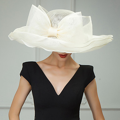 voordelige Hoeden-Vlas Kentucky Derby Hat / hatut / Hoofddeksels met Bloemen 1pc Bruiloft / Speciale gelegenheden  / Causaal Helm
