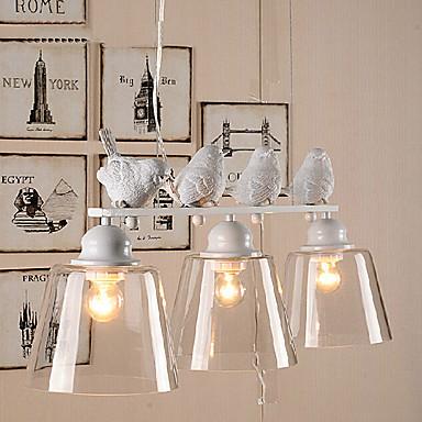 hanglamp 3 lichten landelijke stijl geleid vogelpatroon 220v
