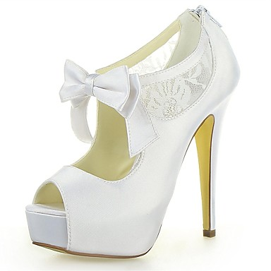 131e7fc0f9b Γυναικεία Παπούτσια Σατέν Καλοκαίρι Τακούνι Στιλέτο Σατέν Λουλούδι Φερμουάρ  για Γάμου Ιβουάρ Σαμπανιζέ Λευκό