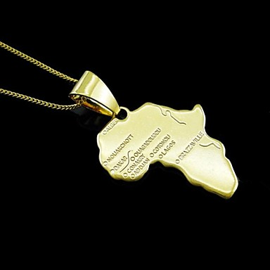 Men's Women's Pendant Map 18K Gold Plated Stainless steel Simple Fashion Africa Jewelry For Dailywear