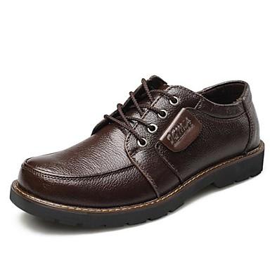 Для мужчин обувь Кожа Весна Лето Осень Зима Удобная обувь Туфли на шнуровке Назначение Повседневные Черный Коричневый