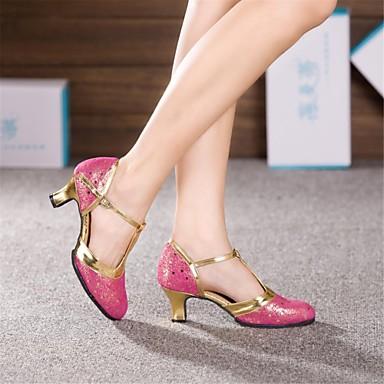 Pentru femei Pantofi Moderni Piele Toc Înalt Cataramă Toc Cubanez NePersonalizabili Pantofi de dans Auriu / Fucsia / Albastru Deschis