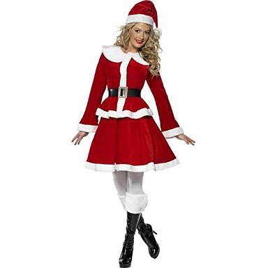Santa Anzüge FrauClaus Cosplay Kostüme Damen Weihnachten Fest / Feiertage Halloween Kostüme Rot