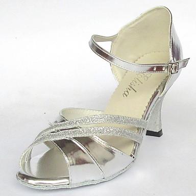 Personalizate pentru femei clasic de argint din piele si Glitter superior Salsa Dans Latin pantofi