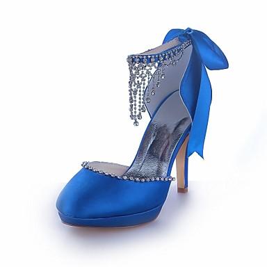 Pentru femei Pantofi Satin Toamnă Toc Stilat / Platformă Cristal Argintiu / Galben / Albastru regal / Nuntă