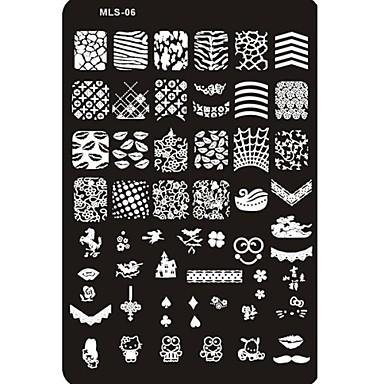 прекрасный ногтей штамповки изображение пластины ногтей шаблон гвоздь трафарет № 6