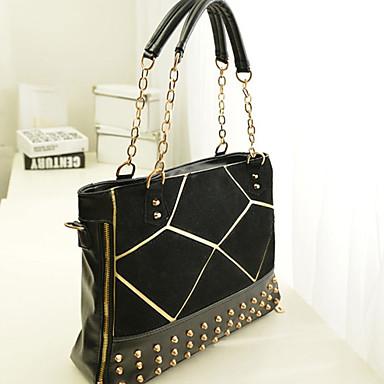Women's Bags PU Tote / Satchel / Shoulder Bag Rivet Black / Red / Blue