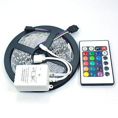 abordables Tiras de Luces LED-5 m Tiras LED Flexibles / Sets de Luces / Tiras de Luces RGB 300 LED 5050 SMD RGB Control remoto / Cortable / Regulable 12 V / Conectable / Auto-Adhesivas / Color variable / IP44