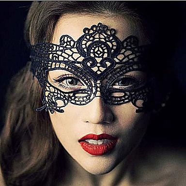 Недорогие Праздничные маски-Карнавал Маски Муж. Хэллоуин Фестиваль / праздник Кружево Черный Муж. Жен. Карнавальные костюмы Однотонный Кружева