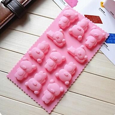 Winnie the Pooh forma de tort de ciocolată mucegai mucegai jeleu de gheață, silicon 21,7 × 11,2 × 1,8 cm (8,6 × 4,4 × 0,7 inci)