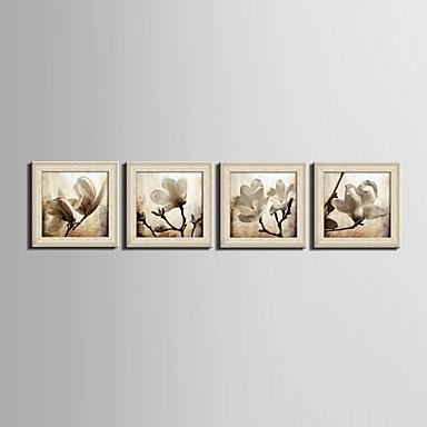 Bloemenmotief/Botanisch Fantasie Ingelijst canvas Ingelijste set Muurkunst,PVC Materiaal Beige Zonder passepartout Met frame For