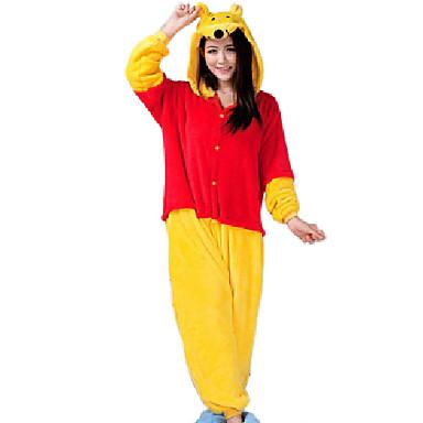 Kigurumi-Pyjamas Bär Pyjamas-Einteiler Kostüm Flanell Vlies Gelb Cosplay Für Erwachsene Tiernachtwäsche Karikatur Halloween Fest /