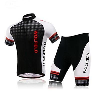 WOLFBIKE Erkek Kısa Kollu Şortlu Bisiklet Forması Bisiklet Şort Forma Giysi Setleri, Nefes Alabilir