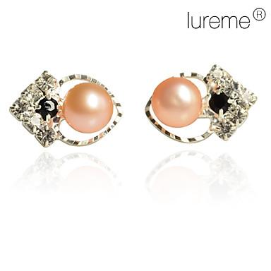 Dame Stangøreringe Kærlighed Hjerte Perle Imiteret Perle Pink perle Hjerte Smykker Daglig