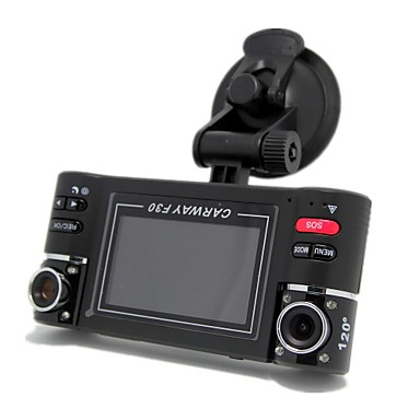 ieftine DVR Mașină-F30 1280 x 480 Car DVR 120 Grade 90 Grade 5.0 MP CMOS 2.7inch LCD Dash Cam cu G-Sensor Vedere nocturnă 8 infraroșu LEDs Car recorder