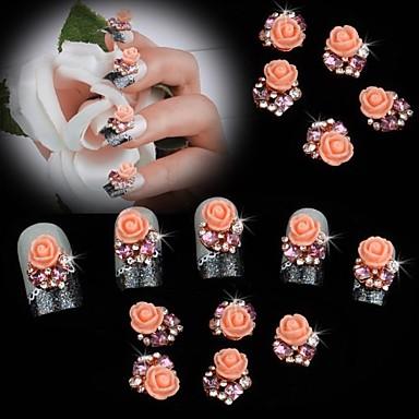 10pcs Pearl Pink Rose Flower 3D Rhinestone DIY Accessories Nail Art Decoration