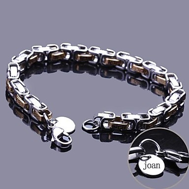 kişiye özel hediye zincir bilezik paslanmaz çelik kazınmış takı