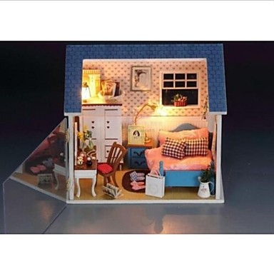 DIY LED Light Warm Small Dollhouse Bedroom Miniatures with All Cover Scene