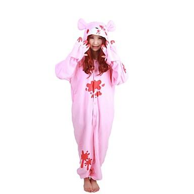 Erwachsene Kigurumi-Pyjamas Waschbär / Bär / Düsterer Bär Pyjamas-Einteiler Kostüm Polar-Fleece Rosa Cosplay Für Tiernachtwäsche Karikatur Halloween Fest / Feiertage / Weihnachten