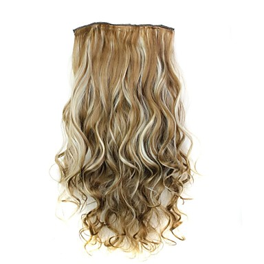 abordables Extensions Synthétiques-Bouclé Classique Cheveux Synthétiques 22 pouces Extension des cheveux Extension à clip Femme Quotidien