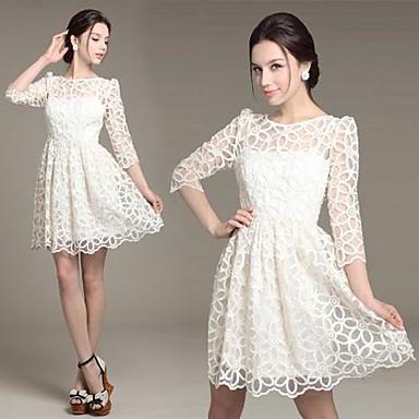 8c6a217c937a 2015 νέες γυναίκες ELEGANTE λευκά φορέματα σέξι δαντέλα μακρύ μανίκι μίνι  φορέματα περιστασιακή δαντέλα φορέματα κοκτέιλ