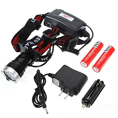 Налобные фонари LED 1200 Люмен 3 Режим Cree XM-L T6 18650 Ударопрочный Перезаряжаемый Водонепроницаемый Походы/туризм/спелеология
