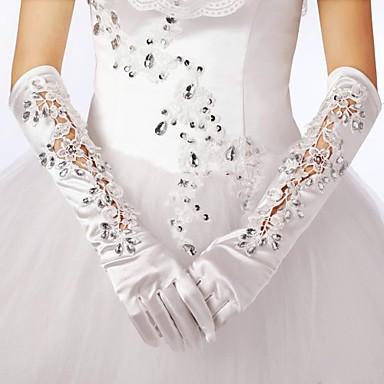 Baumwolle Elastischer Satin Handgelenk-Länge Ellenbogen Länge Handschuh Charme Stilvoll Brauthandschuhe With Stickerei Einfarbig