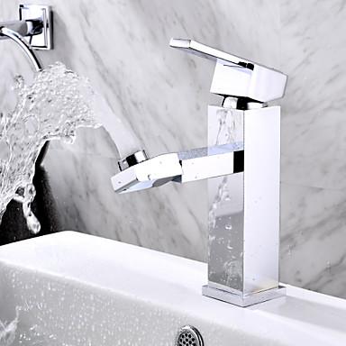 Moderne Centersat Roterbar with  Keramik Ventil Et Hul Enkelt håndtag Et Hul for  Krom , Håndvasken vandhane