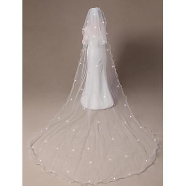 Zweischichtig Gebündelter Rand Perlenbesetzter Saum Hochzeitsschleier Ellbogenlange Schleier Kathedralen Schleier Mit Gestreute Kristalle
