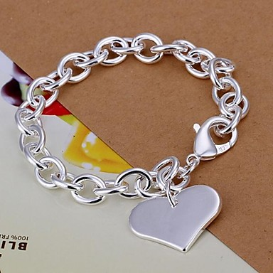 Women's Charm Bracelet - Silver Plated Heart, Love Bracelet Silver For Christmas Gifts / Wedding / Party