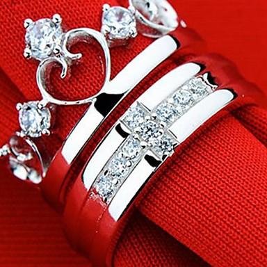 levne Prsteny-Pánské Dámské Pro páry Stříbrná Prsten Stříbro Stříbrná Princezna Klasické Fashion Ring Šperky Pro Večírek 7
